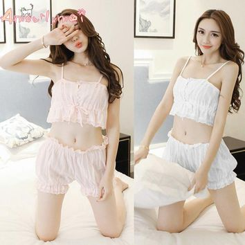 Amourlymei Summer Sexy Cotton Lace Women Pajama Set Japanese Sty 2fa5a445a