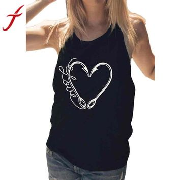 Womens Heart Shape Sexy Sleeveless Tops T-Shirt cartoon clothing for women tees plus size