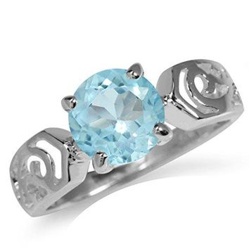 Clearance 258ct Genuine Blue Topaz 925 Sterling Silver Filigree Solitaire Ring