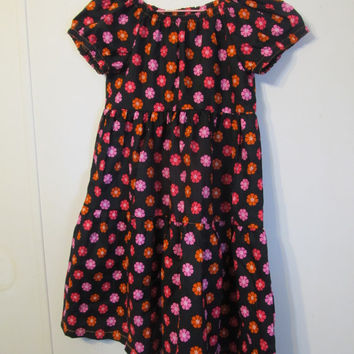Peasant Girl's dress, Handmade clothing, black dress with orange and pink flowers, girl's clothes, Summer/fall, size 7