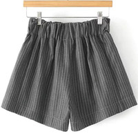 Elastic Waist Pinstriped Grey Shorts