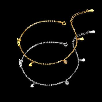 Heart Zircon Anklet Authentic 100% 925 Sterling Silver Charms Ankle Bracelet Halhal Jewellery Anklets For Women Jewelry A26