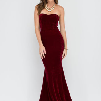 Velvet Vixen Strapless Mermaid Maxi