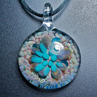 Glass Flower Implosion Pendant Hand Blown Borosilicate Glass