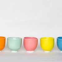 Handmade High Quality Porcelain Cups - 5 delicious colors - Flintstone tableware