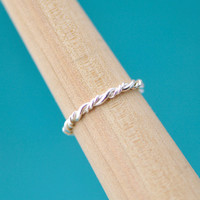 Back To School Sale Bridesmaid Ring - Wedding Party - Wedding Jewelry - Maid of Honor Gift - Sterling Silver - Twist Ring - Stacking Ring