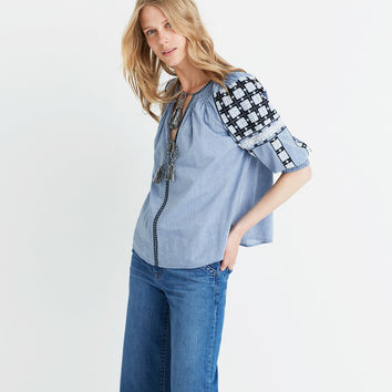 Ulla Johnson™ Embroidered Chambray Top