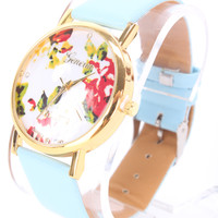 Baby Blue Faux Leather Round Face Floral Print Watch