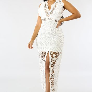 Claudia White Crochet V-Neck Front Slit Maxi Dress