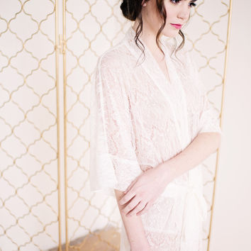 Long Lace Robe - Priscilla - ready to ship