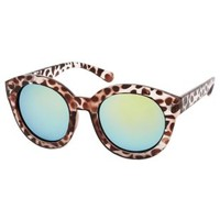 Brown Leopard Print Round Sunglasses by Charlotte Russe