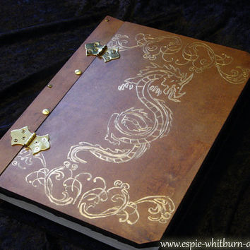Book of Shadows / Journal / Grimoire / Spell Book / Notebook / Visual Diary / Hardcover - Dragon Engraved