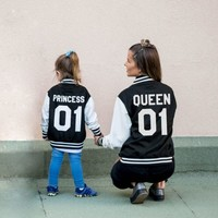 Queen 01 Princess 01 Varsity Jackets, Matching Jackets, UNISEX