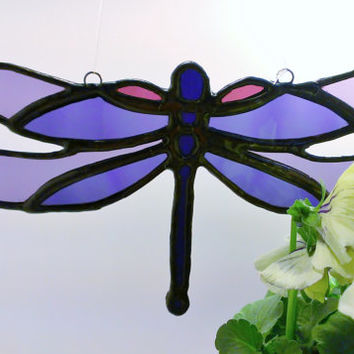 Purple Dragonfly Stained Glass Sun Catcher Tiffany Glass Free Shipping, Ready to Ship