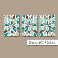 Bedroom WALL ART, CANVAS or Prints, Teal Bedroom Pictures, Modern Bathroom Artwork, Flower Burst Pedals, Set of 3 Home Decor Art