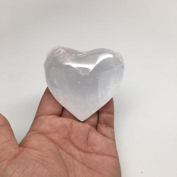 "1pc, 2.4"" Pure White Selenite Puffy Heart Healing Crystal Reiki @Morroco, SLM05"