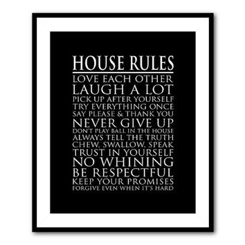 Wall Art - House Rules 8 x 10 or larger print -Typography Art - Subway Art - Family Room Playroom Art - Black & white chalkboard distressed