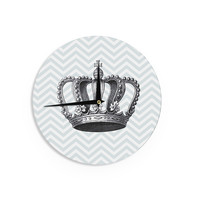 """Suzanne Carter """"Crown"""" Blue Black Wall Clock"""