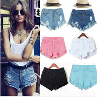 Shorts  Mini Hollow Out  Skinny Denim Shorts s Ripped Hole High Waist Jeans
