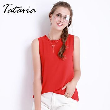 Sleeveless Chemise Femme Chiffon Blouse Shirt Women Spring  White Black Tops Feminine Clothes For Women Female Tataria