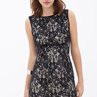 FOREVER 21 Pleated Floral Sheath Dress Black/Nude
