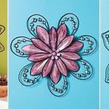 Metal Wall Sculpture Flowers Floral Jeweled Sunflower Magnolia Chrysanthemum NEW