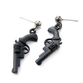 Realistic Gun Pistol Revolver Shaped Dangle Drop Stud Earrings in Black