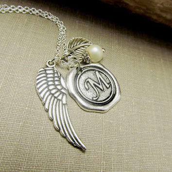 Personalized Angel Necklace, Wing Charm Necklace, Keepsake Inspired necklace, Antique Silver Wax Seal Initial Pendant, Sterling Silver Chain