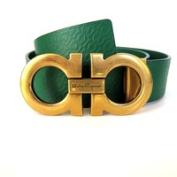 J-2599184 New Salvatore Ferragamo Symbol Gold Buckle Green Belt Size 34 Fits 32