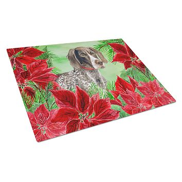 German Shorthaired Pointer Poinsettas Glass Cutting Board Large CK1290LCB