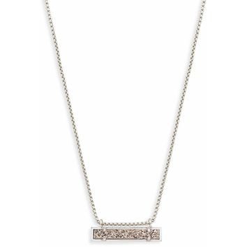 Kendra Scott: Silver Leanor Bar Pendant Necklace In Platinum Drusy