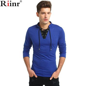 Fashion New Arrival T Shirts Men Spring&Autumn High Quality V-Neck Solid Color Cotton Blends Slim Fit Men T-shirt