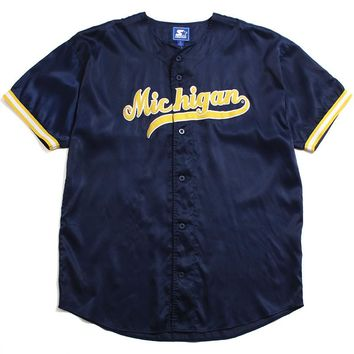 University of Michigan Tailsweep Satin Starter Baseball Jersey Navy (XL)