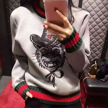 High street tide brand evil cat sweater collar sweater cotton long - sleeved sports sets of head sweaters men