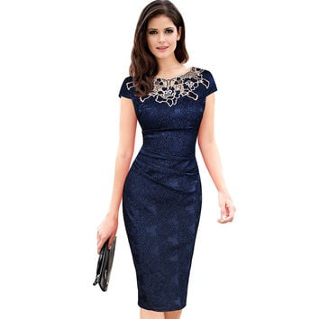 Womens embroidery Elegant Vintage Dobby fabric Hollow out embroidered Ruched Pencil Bodycon Evening Party Dress -03d28