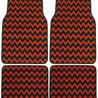 Chevron Red Black 4 Pc Floor Mat Set