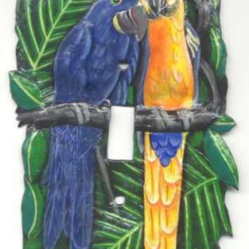 Light Switch Plate Cover - Hand Painted Metal Blue - Gold Macaw Parrots - Haitian Steel Drum Art - Single- S-1008 -1