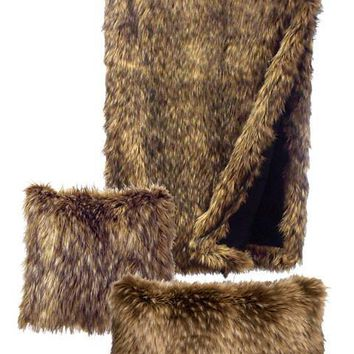 Coyote Faux Fur Throw (54 x 72)