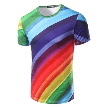 New Fashion Hot Rainbow Striped Pattern 3D T-shirt for men size ml