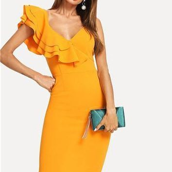 Verona midi ruffle dress