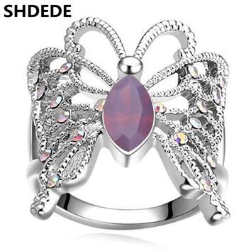 SHDEDE Korea Trendy Jewelry Crystal from Swarovski Engagement Rings For Women White Gold Color High Quality Accessories 16983