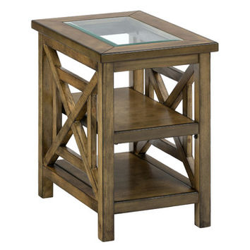 Jofran 582-7 Glass Top Chairside Table w/ Square X-Sides - Two Shelves