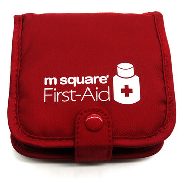 PuTwo Pill Box Wallet Design Case Square Pill Organiser Storage Box- Red