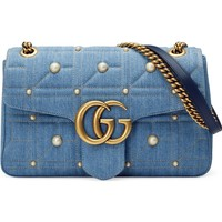 Gucci GG Marmont 2.0 Imitation Pearl Embellished Denim Crossbody Bag | Nordstrom