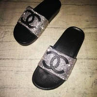 Chanel Slippers Shining Diamond Sequin Black C Cross Fashion Sandals B104500-1 Black