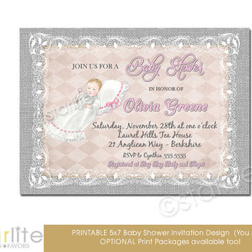 Pink Gray Baby Shower Invitation - Vintage Style, Baby Shower Invitation - 5x7 - Baby Girl - Burlap Lace Chic - Printable Invitation Design