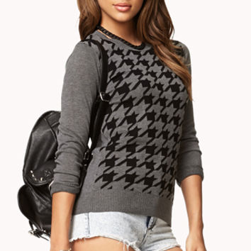 FOREVER 21 Favorite Houndstooth Sweater Charcoal/Black