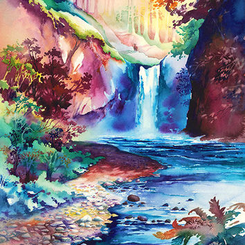 "Limited Edition Watercolor Painting Prints. Oregon Waterfalls. ""Sunlit Falls"" -Michael David Sorensen-Pacific Northwest"