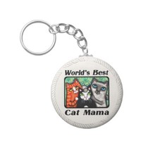 World's Best Cat Mama Kitty Lover's Keychain