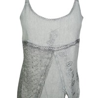 Womens Boho Tank Tops Gray Embroidered Spaghetti Strap Trendy Blouse Top S/M